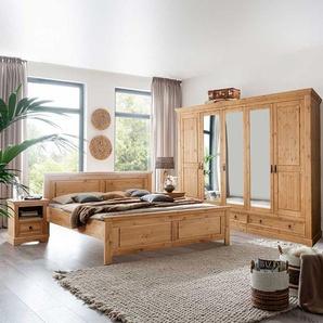 Landhaus Schlafzimmer aus Kiefer Massivholz Eichefarben gebeizt und geölt (vierteilig)