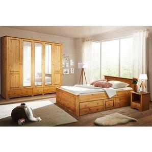 Landhaus Schlafzimmer aus Kiefer Massivholz Stauraumbett (4-teilig)
