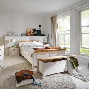 Landhaus Schlafzimmer in Weiß Kiefer teilmassiv (vierteilig)
