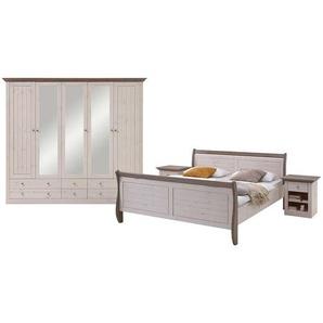 Landhaus Schlafzimmermöbel in Weiß Braun Kiefer Massivholz (vierteilig)