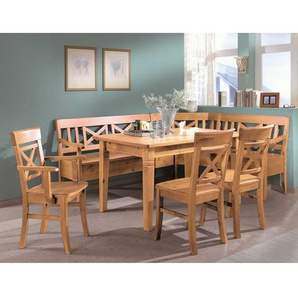 Landhaus Sitzecke aus Kiefer Massivholz Laugenfarben (5-teilig)
