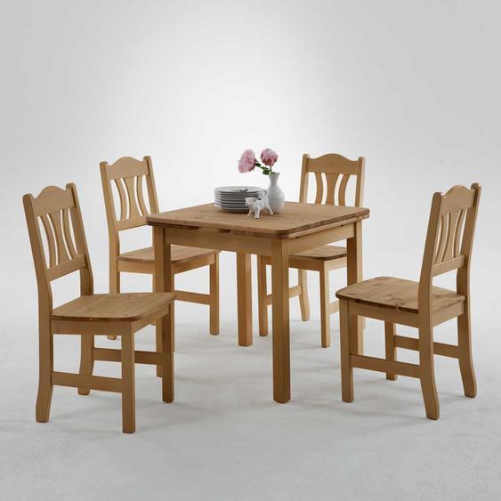 Landhaus Sitzgruppe aus Kiefer Massivholz verlängerbar (5-teilig)