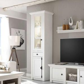 Landhaus Vitrine in Weiß Pinie LED Beleuchtung