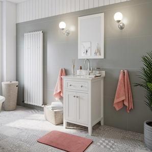 Landhausstil 2tlg Set Postigo 60 weiss Holz lackiert Carrara Marmor vormontiert