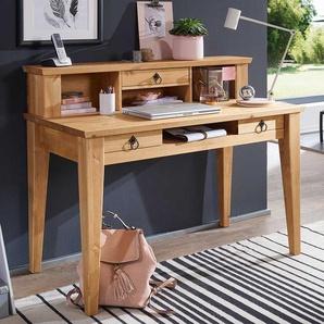 Landhausstil Schreibtisch in Eichefarben Kiefer Massivholz