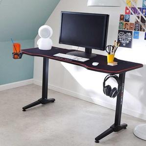 Laptopschreibtisch in Schwarz 140 cm breit