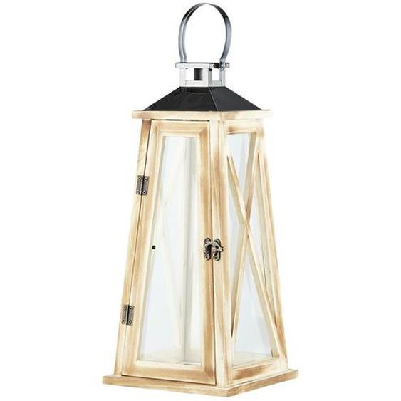 Laterne - holzfarben - Holz, Glas , Metall | Möbel Kraft