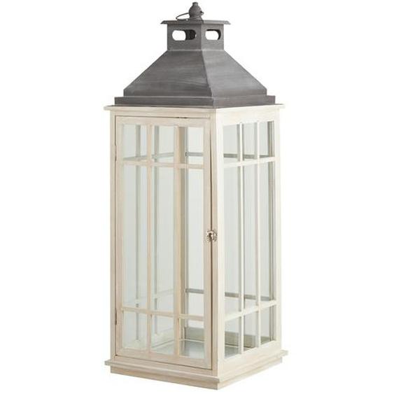 Laterne - weiß - Metall, Glas , Holz | Möbel Kraft