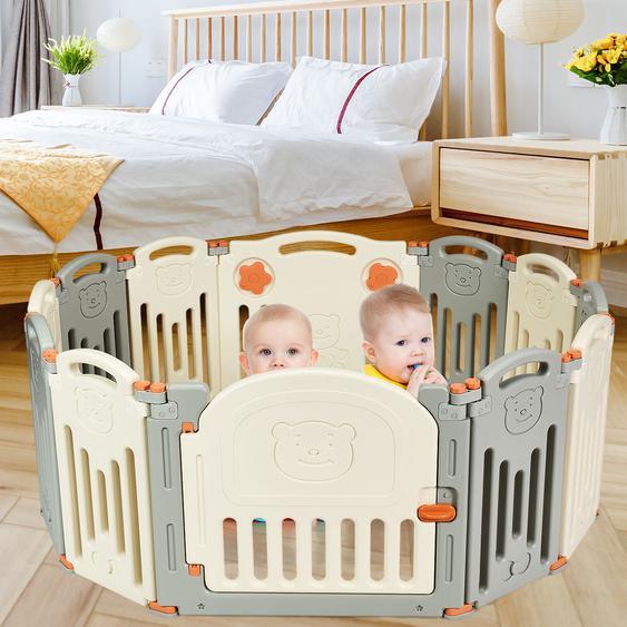 Laufgitter Baby Laufstall Kinder Schutzgitter Absperrgitter mit Tür Beige und Grau