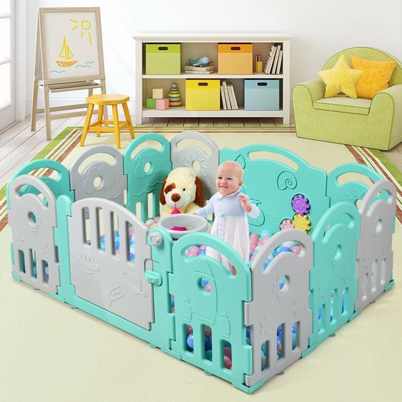 Laufgitter mit 12 Paneelen Baby Laufstall Krabbelgitter aus Kunststoff Krabbelzaun Schutzzaun für Kinder Spielzaun mit Musik & Spielen grün
