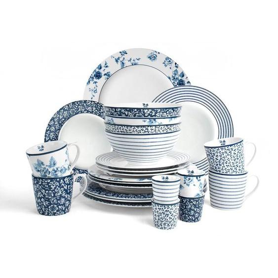 LAURA ASHLEY BLUEPRINT COLLECTABLES Geschirr-Set »Mix Designs China Rose, Sweet Allysum, Floris und Candy Stripe.« (24-tlg), Porzellan