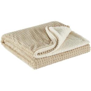 LAVIDA Flanell Fleecedecke | beige | 100% Polyester | 150 cm | Möbel Kraft