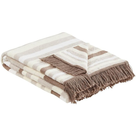 LAVIDA Jacquard-Decke  Streifen - braun - 60% Baumwolle, 40% Polyacryl   Möbel Kraft