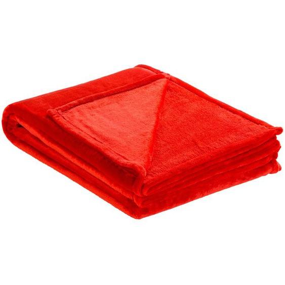 LAVIDA Soft Flauschdecke  Mirabelle ¦ rot ¦ 100% Polyester ¦ Maße (cm): B: 150