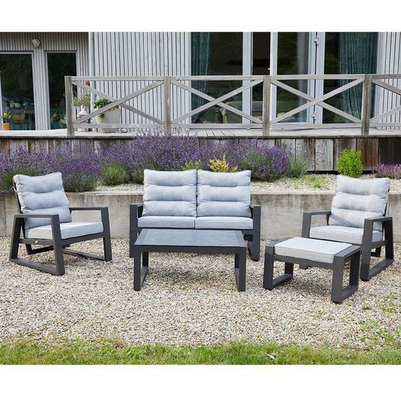 LC Garden Bondino Sofagruppe 5-tlg. Aluminium/Polster Dunkelgrau|Hellgrau