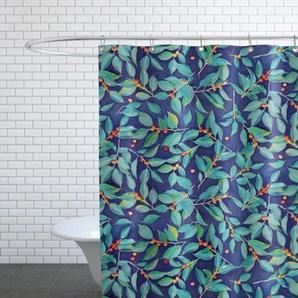 Leaves & Berries on Blue-Duschvorhang
