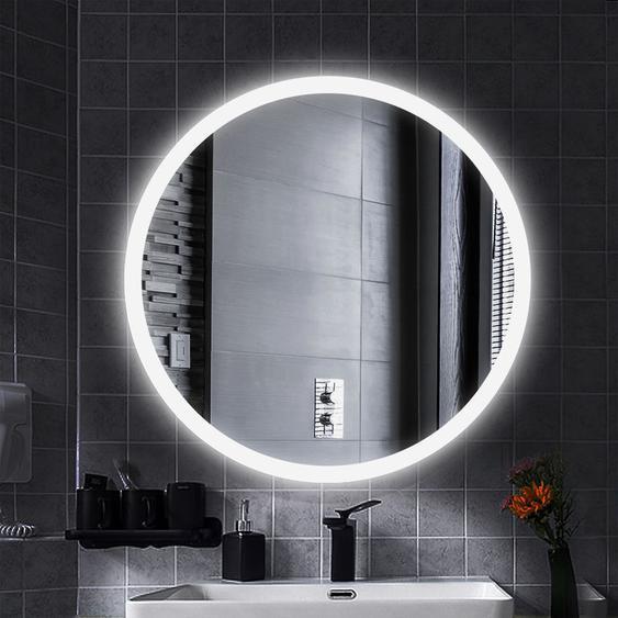 LED Anti-Fog Rund Badspiegel Wandspiegel Mattierter Gürtel kühles Weiß 80x80cm - WYCTIN