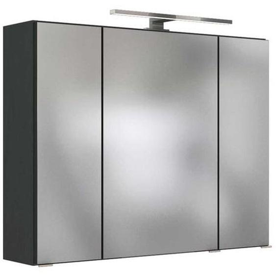 LED Bad Spiegelschrank in dunkel Grau 80 cm breit