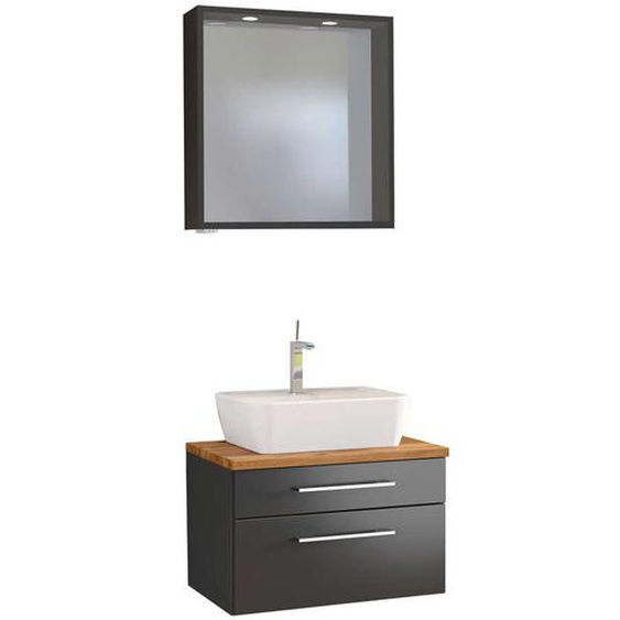 LED Badspiegel und Waschbeckenschrank in dunkel Grau Wildeiche Dekor (2-teilig)