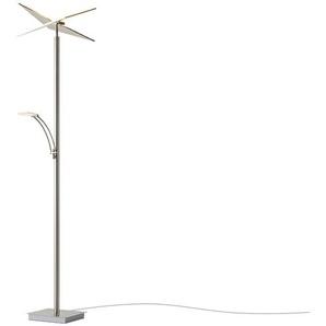 LED-Deckenfluter, 2-flammig, nickel matt ¦ silber ¦ Maße (cm): B: 38 H: 180