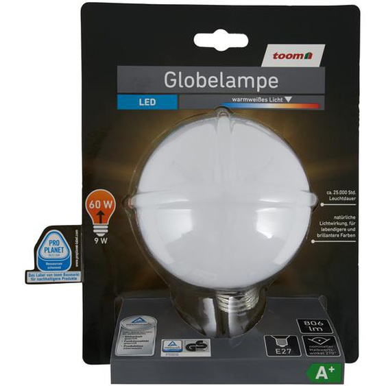 LED-Globelampe E27 806 lm 9 W warmweiß