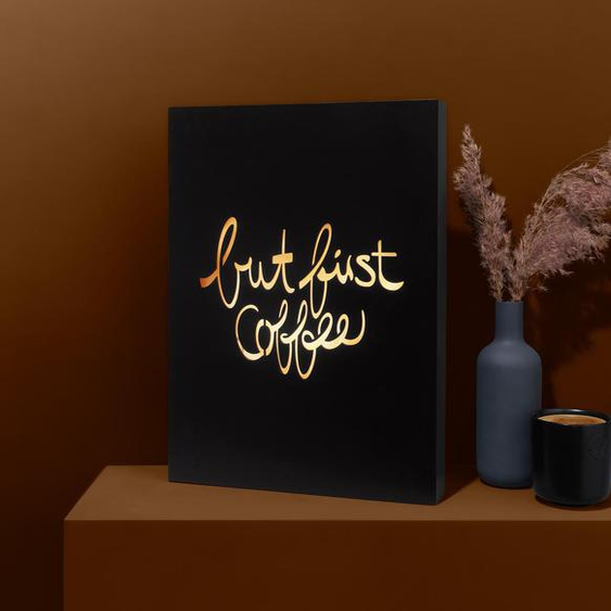LED-Lichtbox »But first coffee«  - Schwarz -