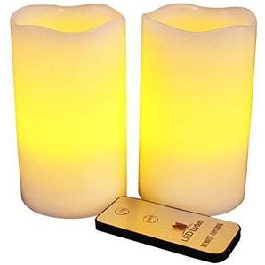 LED Lytes Blinkende Kerzen Gelbe Flamme und Elfenbein Wachs 3x 5