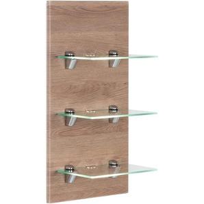 LED-Panel SANTINI eiche hell seidenglanz mit 3 Glasablagen