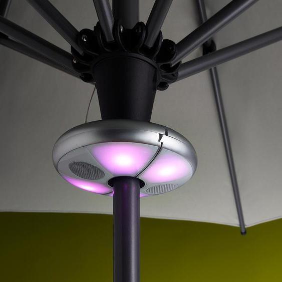 LED-Schirmleuchte mit Bluetooth®-Lautsprecher - Silberfarben -