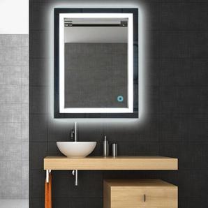LED Spiegel Bad 80×60cm Badspiegel mit Beleuchtung Lichtspiegel Badezimmerspiegel Wandspiegel Touch-Schalter Kaltweiß energiesparend