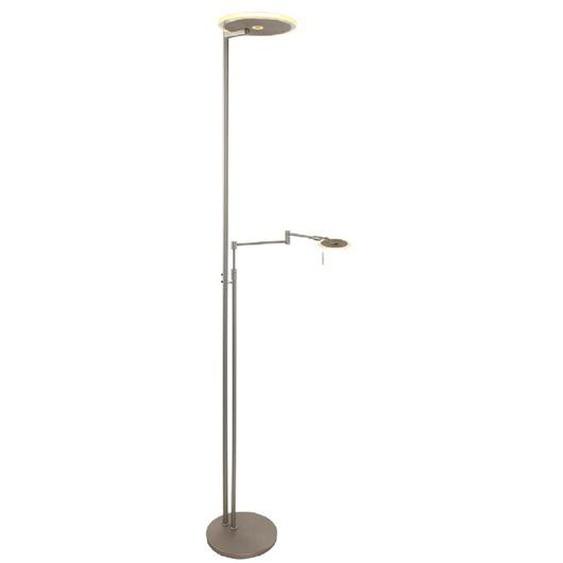 LED-Stehlampe, Silber, Alu, Eisen, Stahl & Metall