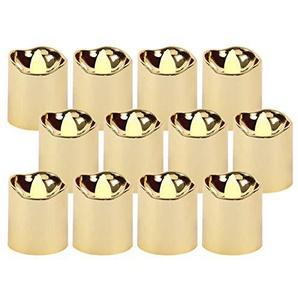 LED Teelichter flackernd inkl. Batterien TL-15 elektrische Kerze gold metallic Teelicht flammenlos von Alsino, wählen :12 Stück