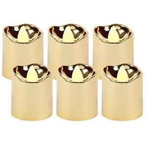 LED Teelichter flackernd inkl. Batterien TL-15 elektrische Kerze gold metallic Teelicht flammenlos von Alsino, wählen :6 Stück