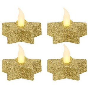 LED Teelichter Kerzen Stern in Gold (tl-06) inkl. Batterien mit Glitzer Design von Alsino, wählen :4 Stück
