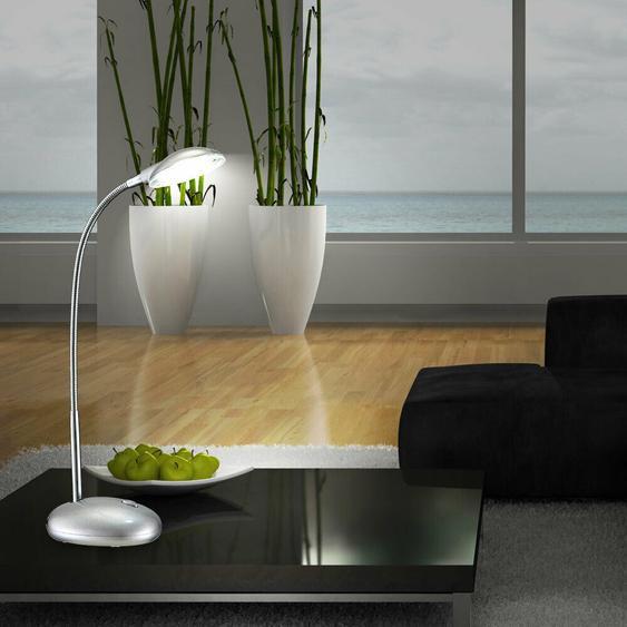 Led Tisch Lampe Silber Schlaf Zimmer Nacht Licht Flexo Chrom Leuchte