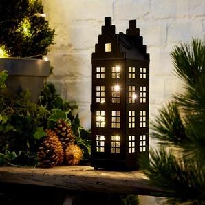 LED-Zinkhaus-Laterne - silber -