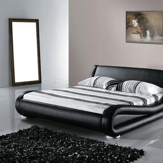 Lederbett schwarz Lattenrost 160 x 200 cm AVIGNON
