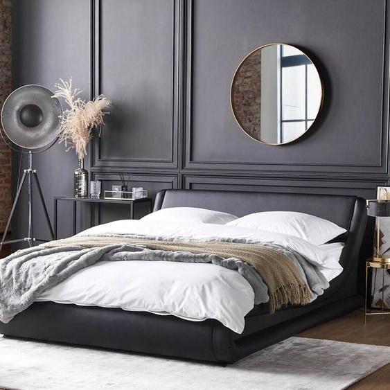 Lederbett schwarz Lattenrost 180 x 200 cm AVIGNON