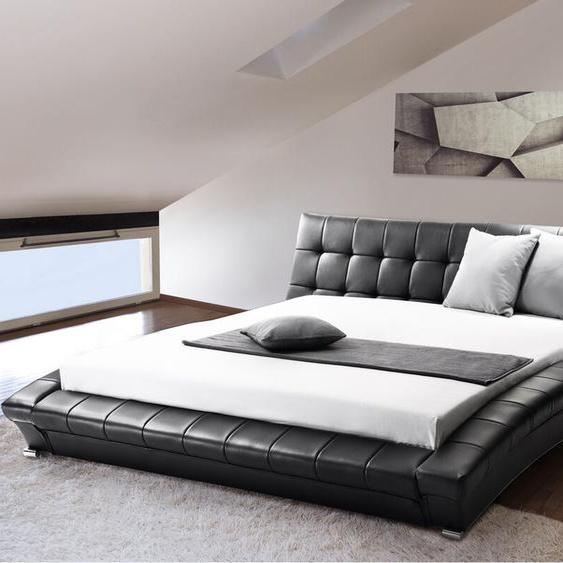 Lederbett schwarz Lattenrost 180 x 200 cm LILLE