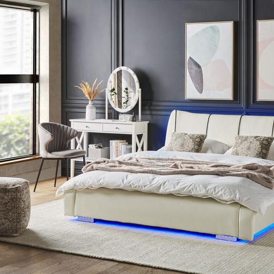 Lederbett weiß Lattenrost 140 x 200 cm mit LED-Beleuchtung bunt NANTES