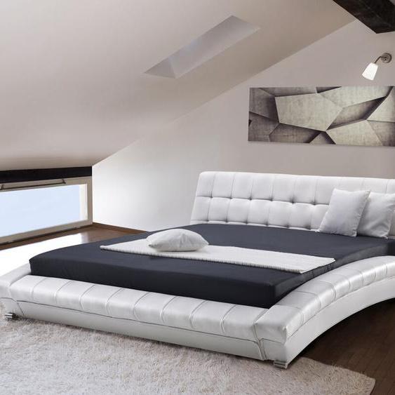 Lederbett weiß Lattenrost 180 x 200 cm LILLE