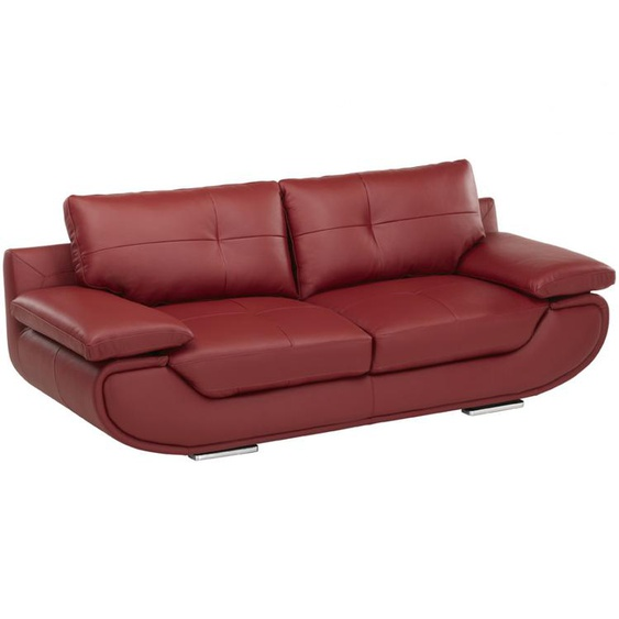 Ledersofa 3-Sitzer ORGULLOSA- Luxusleder - Rot