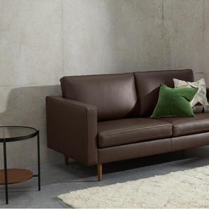 Leighton grosses 2-Sitzer Sofa, Leder in Dunkelbraun