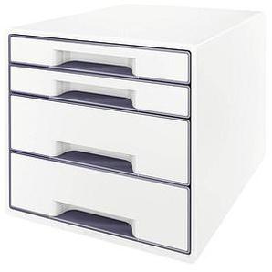 LEITZ Schubladenbox WOW CUBE perlweiß/grau DIN A4 mit 4 Schubladen