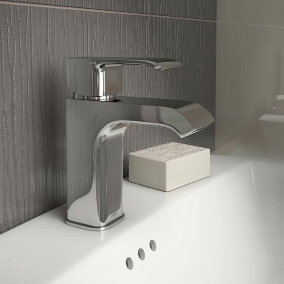 Lenz Waschtischarmatur MILANA B/H/T: 5,1 cm x 16,2 14,3 cm, Waschtischarmatur-Einhebelmischer silberfarben Waschtischarmaturen Badarmaturen Bad Sanitär
