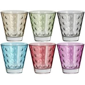 LEONARDO Gläser klein, 6er-Set  Optic ¦ mehrfarbig ¦ Glas ¦ Maße (cm): B: 26 H: 9,8 T: 17,4 Gläser & Karaffen  Trinkgläser » Höffner