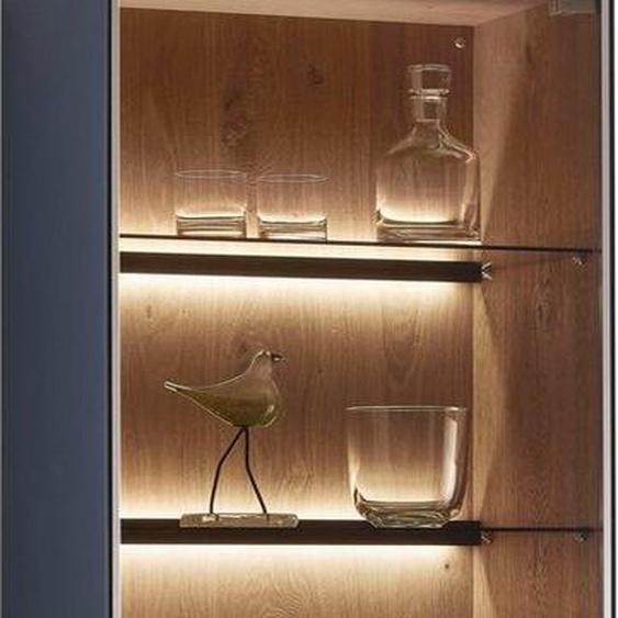 LEONARDO Standvitrine »LIV« Massivholzkacheln enthalten, Höhe 195 cm, wahlweise mit Mattglas in blau oder grau