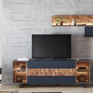 LEONARDO Wohnzimmer-Set »LIV«, (4-St), Massivholzkacheln enthalten, mit Wandpaneel, in Mattglas blau