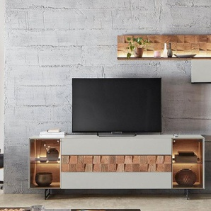 LEONARDO Wohnzimmer-Set »LIV«, (4-St), Massivholzkacheln enthalten, mit Wandpaneel, in Mattglas grau