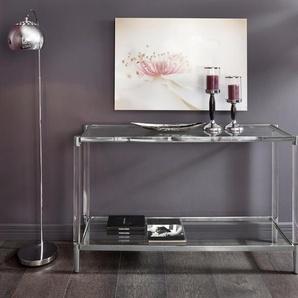 Leonique Beistelltisch »Ceadda« mit Metallbeinen und einer Glastischplatte, in 2 Farben, Breite 130 cm